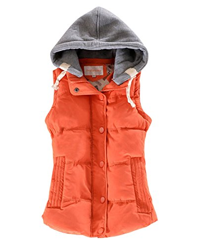 Warm Womens Orange Winter Coats DianShao Sleeveless Vests Gilet Padded Thick 7axdIq5wz