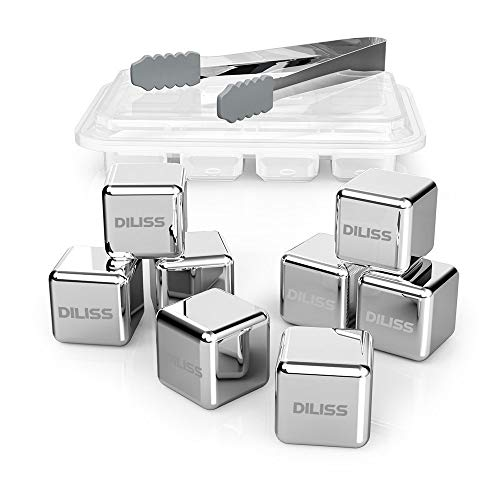 DILISS Stainless Steel Chilling Reusable Ice Cubes for whiskey, vodka, liqueurs, white wine and more, Pack of 8 (Fashioned Gem Double Old)