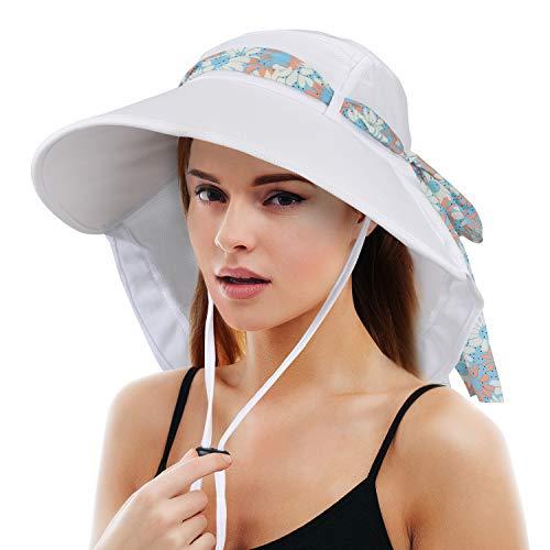 Tirrinia Women Wide Brim Adjustable UPF 50+ Sun Hat Safari with Floral Ribbon for Beach Hiking Camping Fishing Gardening White
