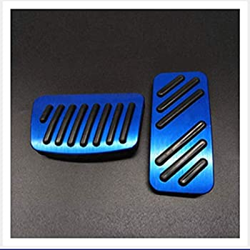 Blue 2 pcs Car Automatic Brake Accelerator NonSlip Foot Pedal cover Belt Drill