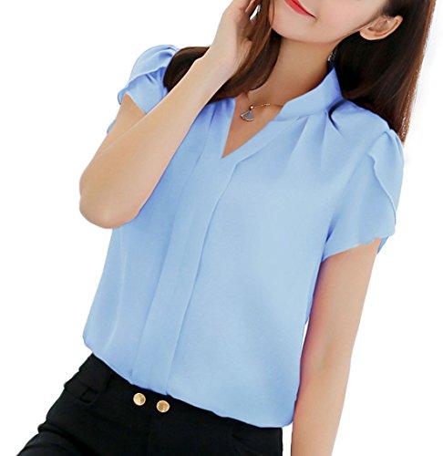 New Fashion V Et Ciel Col Unie Hauts Mousseline Bleu Femme Couleur Casual Courtes Manches Blouses Chemisiers Tops qRn06H