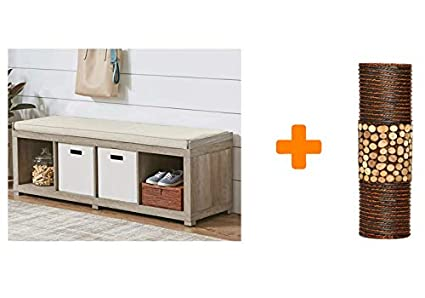 Amazon.com: Organizer Bench 4-Cube Storage in Rustic Gray with ... on