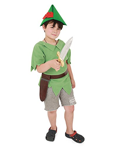Miccostumes Kids Peter Pan Halloween Cosplay Costume with Hat and Sword (one size) -