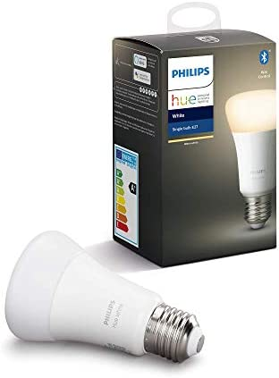 Philips Hue White E27 LED Lampe Einzelpack, dimmbar, warmweißes Licht, steuerbar via App, kompatibel mit Amazon Alexa (Echo, Echo Dot)