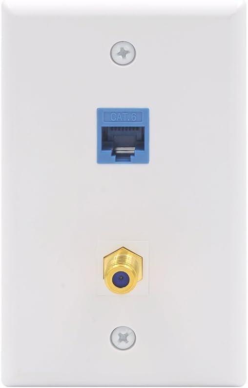 VCE 2 Port Cat6 Keystone Jack Coupler and Gold-Plated RG6 Keystone Jack Insert Wall Plate UL Listed