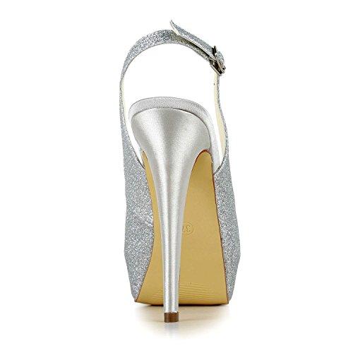 JIA JIA Damen Brautschuhe 20119 Peep Toe Stiletto-Absatz Funkelnde Plateau Sandalen Hochzeitsschuhe Silber