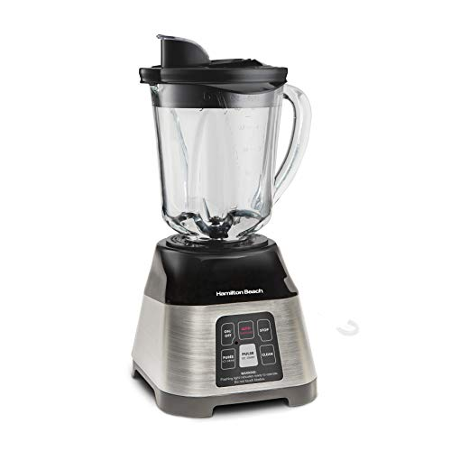 Hamilton Beach Smoothie Smart Blender with 5 Functions including One-Touch AutoSmoothie, 40 oz Glass Jar, Stainless Steel (56208)