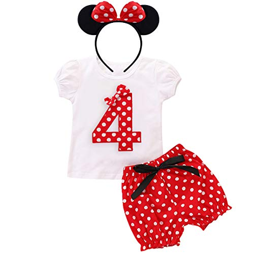 Little Baby Girls Minnie Costume Birthday Party Outfits Short Sleeve Tops+Polka Dots Pants+Ear Cake Smash Clothes 4th Birthday 3-4 Years ()
