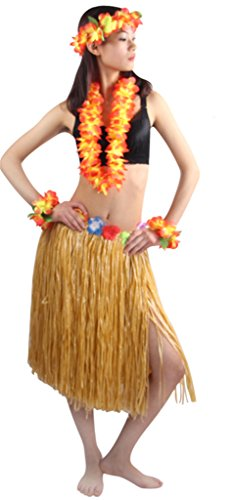 Good Quality 5pcs/set Adult Hawaiian Luau 60cm grass hula skirt