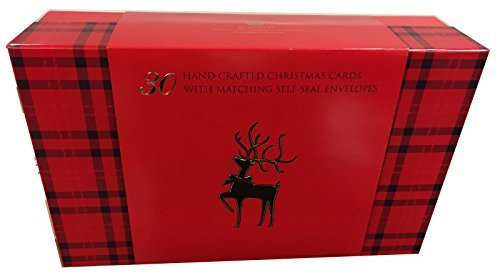 Burgoyne 30 Assorted Hand Crafted Christmas Cards with Ma...