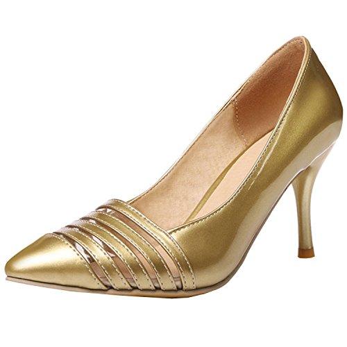 Azbro Mujer Zapatos de Estilete con Bomba Puntera Punta de Moda Dorado