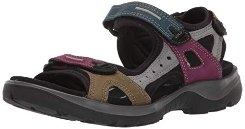 ECCO Women's Yucatan outdoor offroad hiking sandal, petrol/aubergine/fir green, 4 M US
