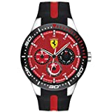 Ferrari Men's RedRev Quartz Stainless Steel and Silicone Strap Casual Watch, Color: Black (Model: 830588)