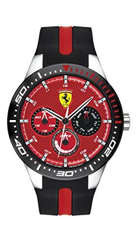 Ferrari Men's RedRev Quartz Stainless Steel and Silicone Strap Casual Watch, Color: Black (Model: 830588)