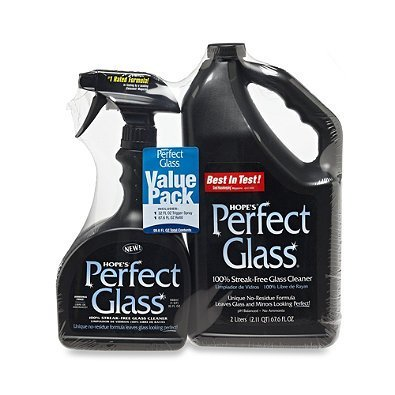 (Hope's Perfect Glass Cleaner, 2 Piece, 32 Oz. Spray Bottle and 64 Oz. Refill Bottle)