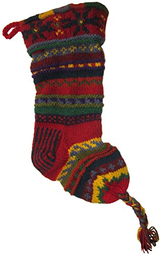 Handknit Wool Christmas Stockings (Red and Yellow Stripe)]()