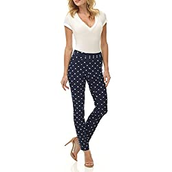 Rekucci Women's Ease in to Comfort Fit Stretch Slim Pant (4,Navy/Ivory Dot)