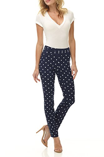 Rekucci Women's Ease in to Comfort Fit Stretch Slim Pant (14,Navy/Ivory Dot)