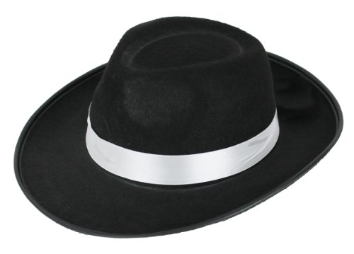 518a90134485e ILOVEFANCYDRESS® CHILDS GANGSTER HAT BLACK WHITE TRILBY FEDORA FANCY DRESS  ACCESSORY 56CM CIRCUMFERENCE KIDS DANCE SHOW HAT (BLACK HAT WITH WHITE  BAND)  ...