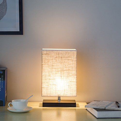 ZEEFO Wood Table Lamp, Retro Solid Wood and Fabric Shade Relax Lighting for Bedroom Bedside Desk Lamp, Contemporary Living Room, Study, Cafe, Baby Room (Rectangle)