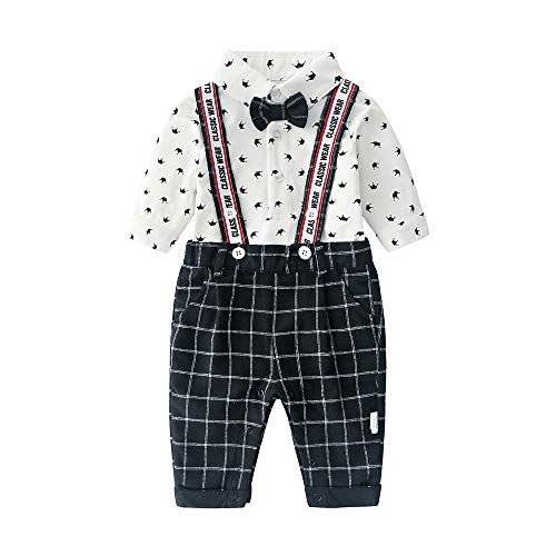 Newborn Baby Boys Long Sleeve Onesie+ Bib Overalls + Suspenders+Bowtie Clothing Set, Toddler Infant Gentleman Pants Outfit White - Long Sleeve Boys Overalls