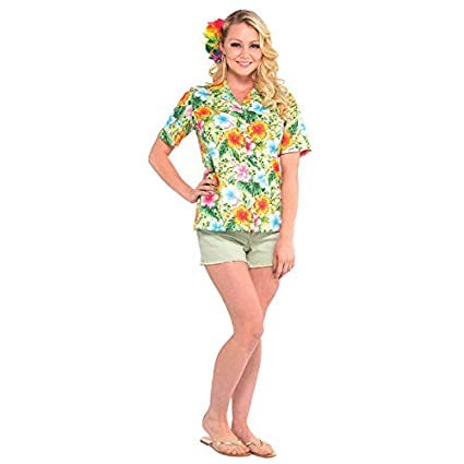 99c3de3fd Amazon.com: Amscan 847285 Women's Hawaiian Shirt Summer Beach Luau Costume  Dress up Apparel Party Supplies (2 Piece): Toys & Games