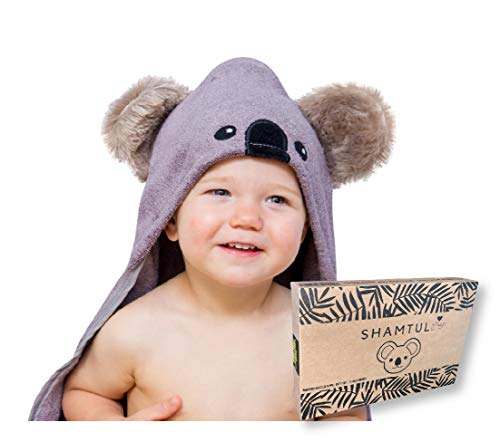 Hooded Baby Towel and Washcloth Gift Set | Koala Design | Extra Soft Bamboo Bath Towel For Toddler Infant Newborn | Pool Beach or Blanket | Girls and Boys