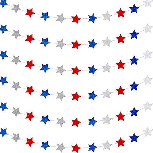 6 Pieces Patriotic Star Streamers 4th of July Star Garland Banner for Independence Day Celebration Holiday Decorations, 89 Feet Totally
