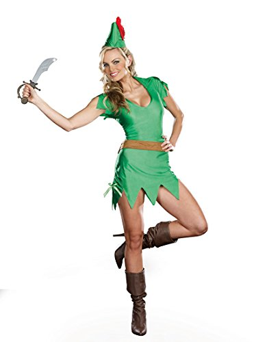 Peter Pan Costumes For Women (Dreamgirl 7537 Peter Pan Sexy Adut Halloween Costume - Medium - Green)