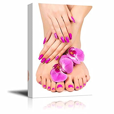 Canvas Prints Wall Art - Pink Manicure and Pedicure with a Orchid Flower - 32