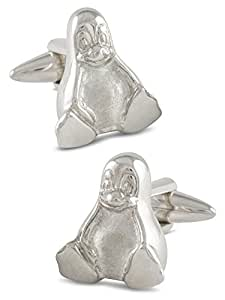 ZAUNICK Tux Linux Cufflinks Penguin Cufflinks Sterling Silver