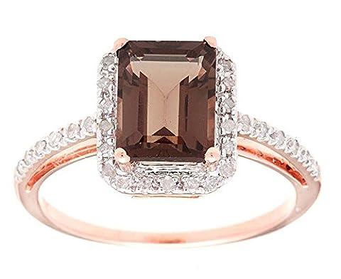 10k Rose Gold Emerald-Cut Smoky Quartz and Diamond Halo Ring (Chocolate Diamond Rose Gold Band)
