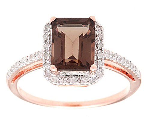 [10k Rose Gold Emerald-Cut Smoky Quartz and Diamond Halo Ring] (Emerald Cut Smoky Quartz Ring)
