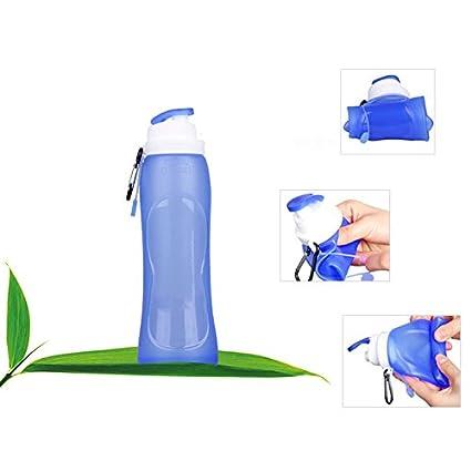 A Feitb Faltbare Wasserflasche Anti-Fall Silikon-Flasche Wasserbeutel Sportflasche Hydratation Blasen Trink-Flasche f/ür Camping Wandern Reiten und Klettern Rucksack Fahrrad