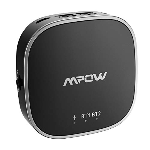 Mpow Bluetooth 5.0 Transmitter and Receiver, Wireless Bluetooth Transmitter aptX Low Latency for Real Time TV Show Enjoyment, Bluetooth Audio Adapter aptX HD for Music Feast (18 Hours, 50 Feet)