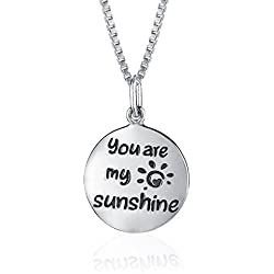 """925 Sterling Silver You Are My Sunshine Necklace for Girls, Ladies, Teens Two sided 18"""" Italian Box Chain GIFT BOXED"""