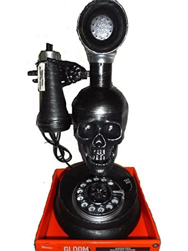 Animated Old Fashioned Skull Face Haunted Phone Halloween Prop Spooky Sound Effects]()
