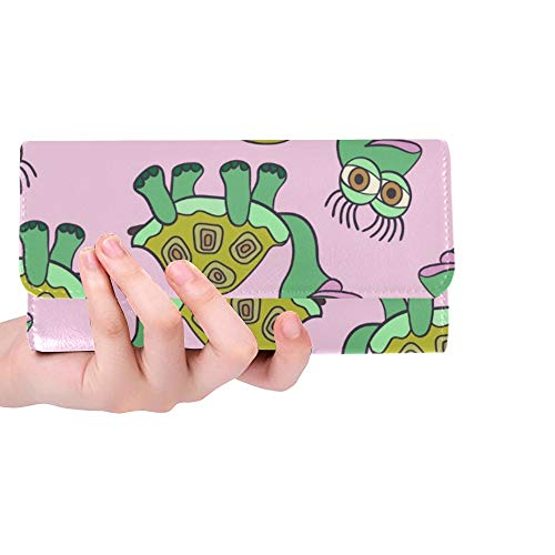 Unique Custom Cute Turtle Women Trifold Wallet Long Purse Credit Card Holder Case Handbag