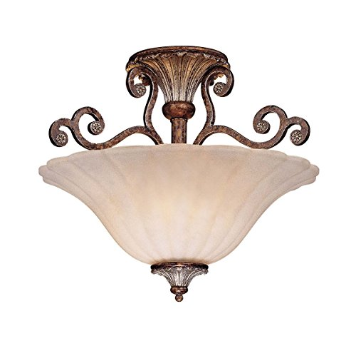 Savoy House Lighting 6-3008-2-8 St. Laurence Collection 2-Light Semi-Flush Ceiling Mount, New Tortoise Shell with Sliver Finish with Cream Marble (Locations Tortoise Shell Finish)