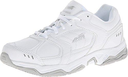 AVIA Women's Avi Union Service Shoe, White/Chrome Silver/Steel Grey, 7.5 B(M) (Avia Silver Shoes)