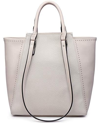 Women Tote Purse Shoulder Bag Hobo Handbag Chic Fashion Casual Vegan Leather (Large, Ivory)