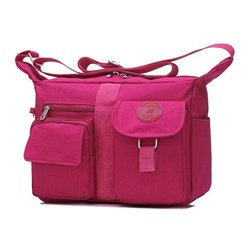 Women's Shoulder Bags Casual Handbag Travel Bag Messenger Cross Body Nylon Bags Pink