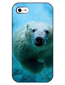 SUPER-CASE Print Phone Case - Protect Shell Plastic Case Cover DESIGN with Polar Bear for Apple Iphone 5 5S