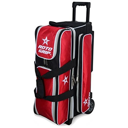 Roto Grip 3 Ball Deluxe Roller Bowling Bag, Black/Red by Roto-Grip