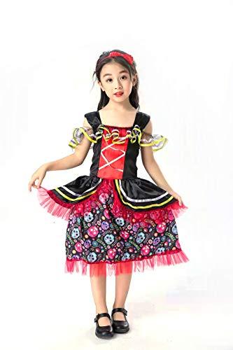 Day Of The Dead Girl Halloween Costume (yolsun Day of The Dead Costume for Girls Halloween Kids Dress (M,)