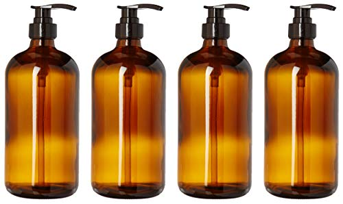 (kitchentoolz 32-Ounce Large Amber Glass Boston Round Bottles w/Black Pumps. Great for Lotions, Soaps,Oils, Sauces - Food Safe and Medical Grade (4 Pack of Bottles))