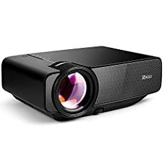 ►RAGU Mini Home Projector-Project Big Screen Anywhere◄►Extreme Light and Compact▷Net weight is 1kg only ▷Same size as the ipad mini ▷Compact design for space saving►Outstanding Display Performance▷Native Resolution of 800 x 480 pixels▷Support...