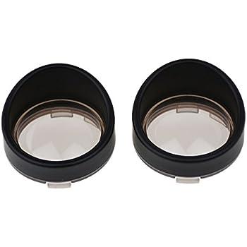 YHMTIVTU Bullet Turn Signal Visors Lights Lens Covers for Harley Dyna Softail Sportster,Black Ring Grey Lens,2 pcs