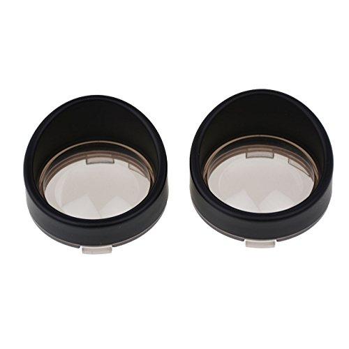 Smoked Grey Lens - YHMTIVTU Bullet Turn Signal Visors Lights Lens Covers for Harley Dyna Softail Sportster,Black Ring Grey Lens,2 pcs