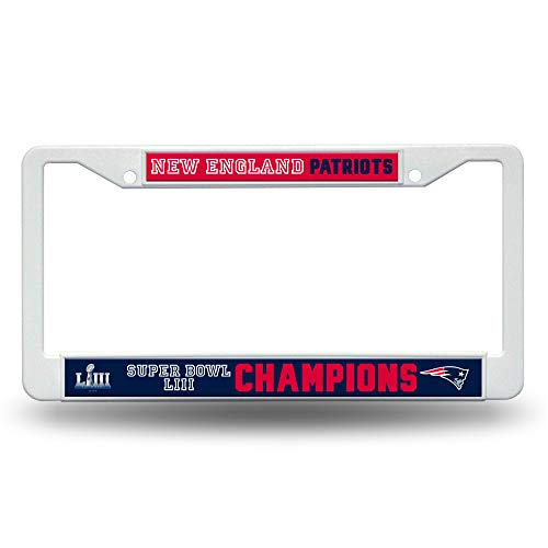 (Rico Industries NFL New England Patriots Super Bowl LIII Champions Plastic License Plate Frame, 12, Blue)